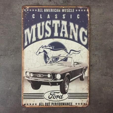 PLAQUE METAL MUSTANG 42
